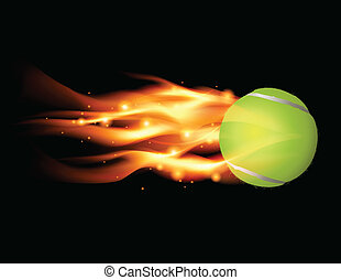 Tennis Ball on Fire Illustration - Tennis ball flying on...