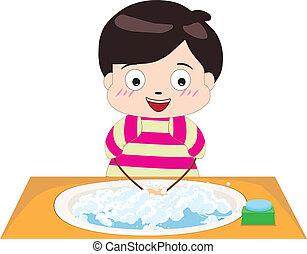 Menino, pequeno, seu, lavando, mãos