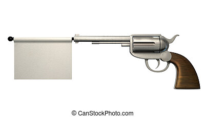Pistol Surrender Flag - A six shooter gun with a blank white...