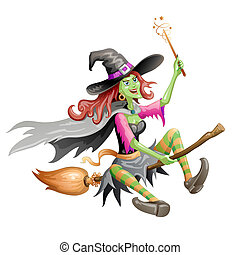 Red haired witch flying on a broomstick over on white...