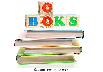 Books with blocks - Blocks for kids on books isolated on...