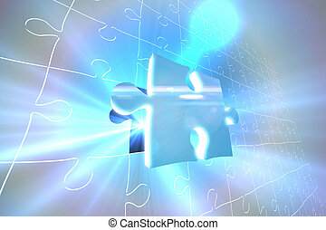 Blue glowing jigsaw piece on puzzle - Digitally generated...
