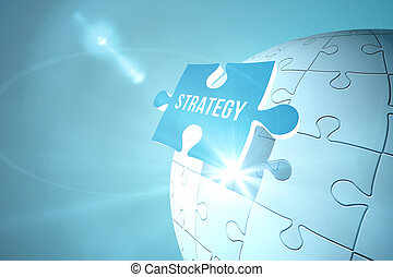 Blue strategy jigsaw piece on puzzle - Digitally generated...