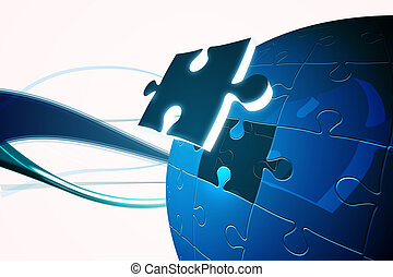 Blue jigsaw piece on puzzle - Digitally generated Blue...