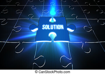 Blue solution glowing jigsaw piece on puzzle - Digitally...