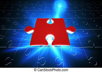Red jigsaw piece on blue puzzle - Digitally generated Red...
