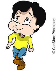Walking Boy - Cartoon Illustration, Vector