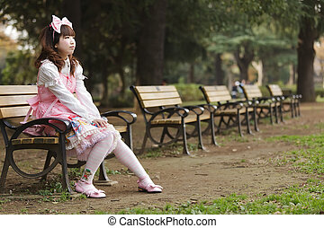 Japanese lolita cosplay in park - Japanese girl in lolita...