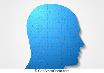 Blue head made of jigsaw pieces - Digitally generated Blue...