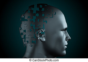 Grey jigsaw head with missing pieces - Digitally generated...