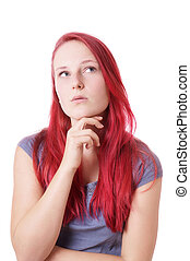 young woman lost in thought