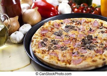 salchichones, pizza