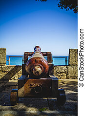 hav, Pekande, kanon, militär, spansk, fästning, ute