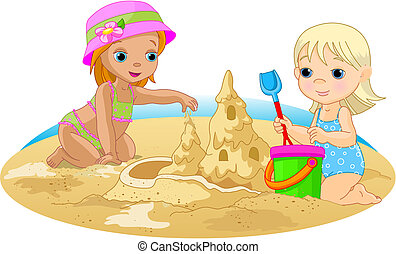 Day at the beach - Two Little girls building a sand castle...