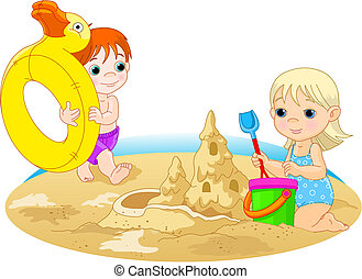 Day at the beach - Little girl building a sand castle and...
