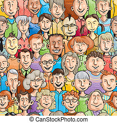 Smiling faces. Seamless pattern - Seamless pattern with 30...