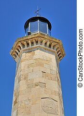 Genoese old lighthouse - Lighthouse light room against blue...