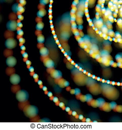 Spiral shiny garlands with light aberrations
