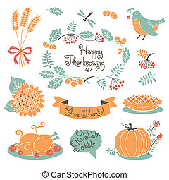 Happy Thanksgiving set of elements for design. Vector...