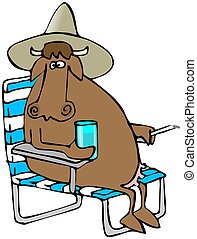Relaxing Cow - This illustration depicts a cow wearing a hat...
