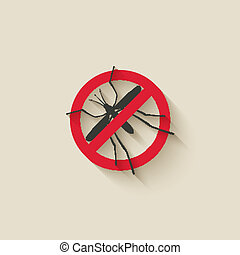 mosquito warning sign - vector illustration eps 10