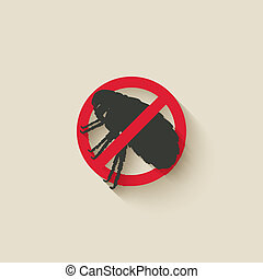flea warning sign - vector illustration eps 10