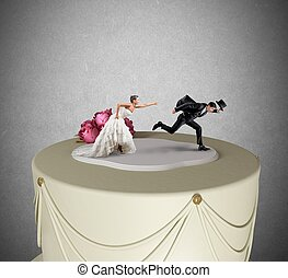Escape from marriage - Funny Escape from marriage concept...