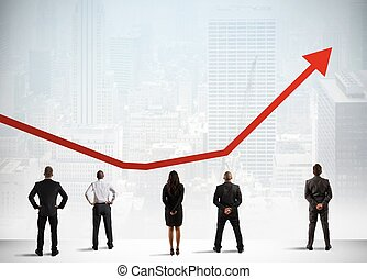 Successful statistics - Business team observe growing...