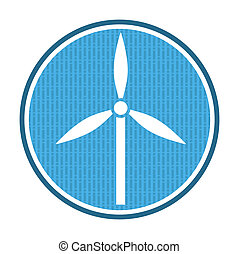Wind power icon, illustration with abstract background