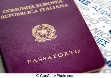 Italian passport - Close up view of the exterior cover of an...