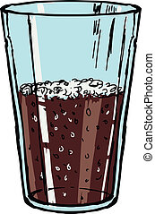 glass of cola - hand drawn, doodle, sketch illustration of...