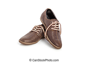 shoes - A pair of mens leather shoes with colorful laces
