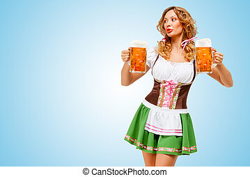 Oktoberfest waitress. - Young sexy Oktoberfest woman wearing...