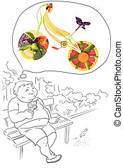Dreams about sport - Fruits and vegetables in the shape of a...