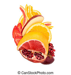 Fruity heart. - A food concept of a healthy human heart made...