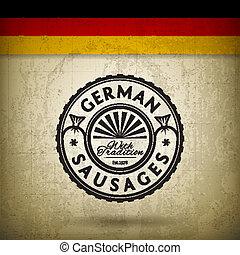 German Sausages - Vector Label for German Sausages on Grunge...
