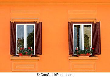 Two windows with flowers on wall