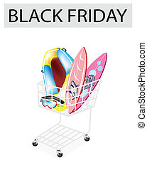 Inflatable Boat and Surfboards in Black Friday Shopping Cart...