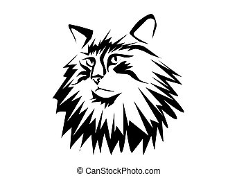 norwegian forest cat. silhouette isolated on white
