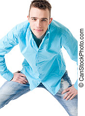Sturdy guy - Young sturdy guy with his blue blouse