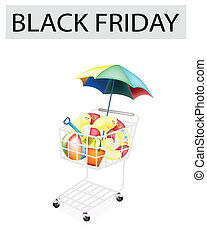 Beach Items in Black Friday Shopping Cart - A Shopping Cart...