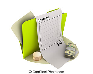 invoice icon - illustration of invoice icon with money on...
