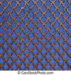 motivo, islamic, estilo, decorar, azul, parede