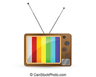 Retro Television with Rainbow Scree
