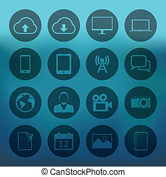Blue background with mobile phone icons set
