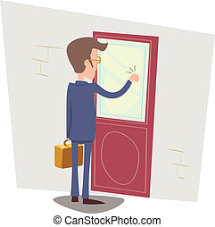 Oriented Happy Businessman with Briefcase Knocking at...