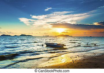 sopra, onda, tramonto, oceano
