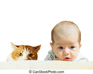 Portrait of face funny caucasian newborn toddler baby boy with red cat isolated on white