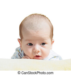 Portrait of face funny caucasian newborn toddler baby boy isolated on white