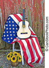 guitar on American flag - Guitar on American flag with...